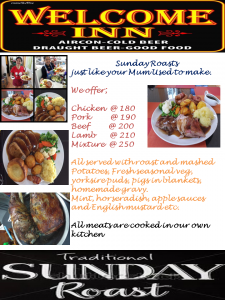 Traditional Plated Sunday Roasts just like your Mum used to make @ The Welcome Inn