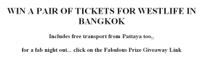 Westlife Ticket Giveaway Bangkok