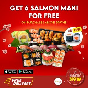 DODO SUSHI - Get 6 Salmon Maki for FREE - Order via HungryNow @ HungryNow