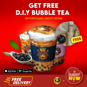 FIRE BEAR - Make your own D.I.Y Bubble tea for FREE - Order now via HungryNow @ HungryNow