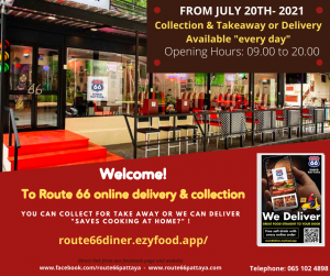 ROUTE 66 DINER PATTAYA - Home Deliveries @ Route 66 Diner